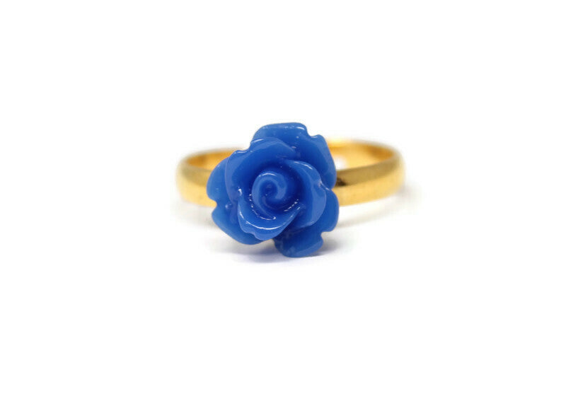 Tiny Petals Stacking Ring ~ Royal Blue Rose