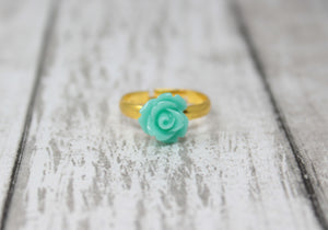 Tiny Petals Stacking Ring ~ Sea Foam Rose