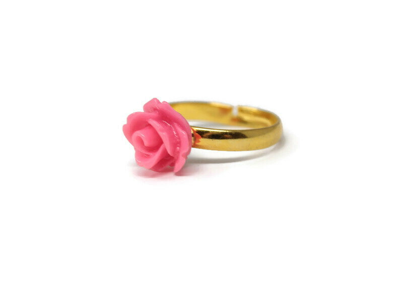 Tiny Petals Stacking Ring ~ Strawberry Pink Rose