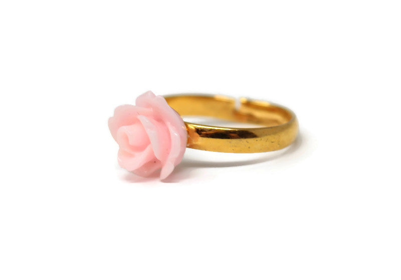 Tiny Petals Stacking Ring ~ Sunset Pink Rose