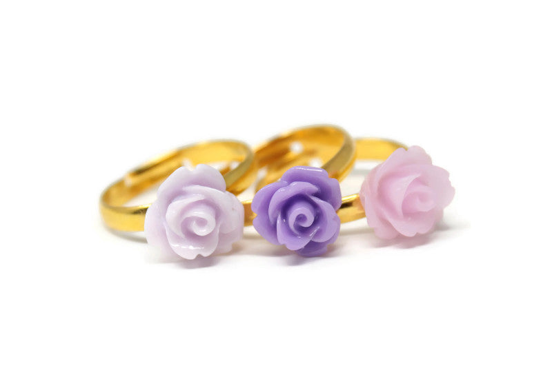 Tiny Petals Stacking Ring ~ Violet Rose