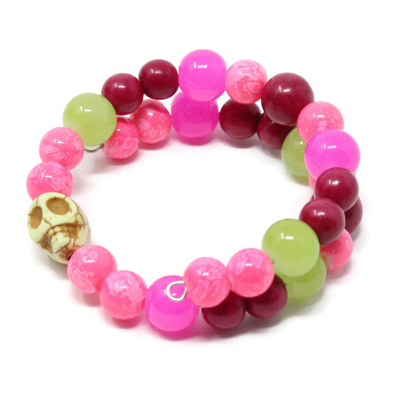 SMALL SKULL BRACELET ~ magenta green pink multicolor