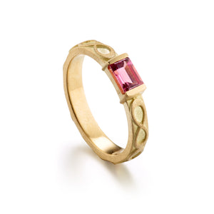 Pink Tourmaline Infinity Rectangle Ring