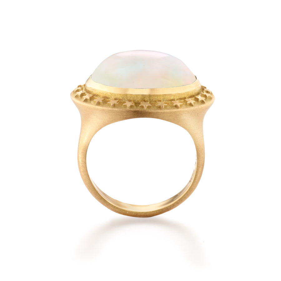 Rainbow Moonstone Star  Cocktail Ring