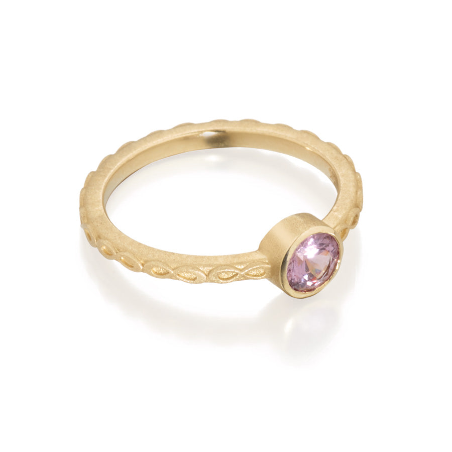 Lavender Spinel Round Infinity Ring