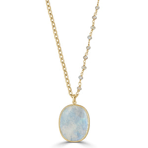 Moonstone Pendant with Labradorite and Gold Vemeil Chain