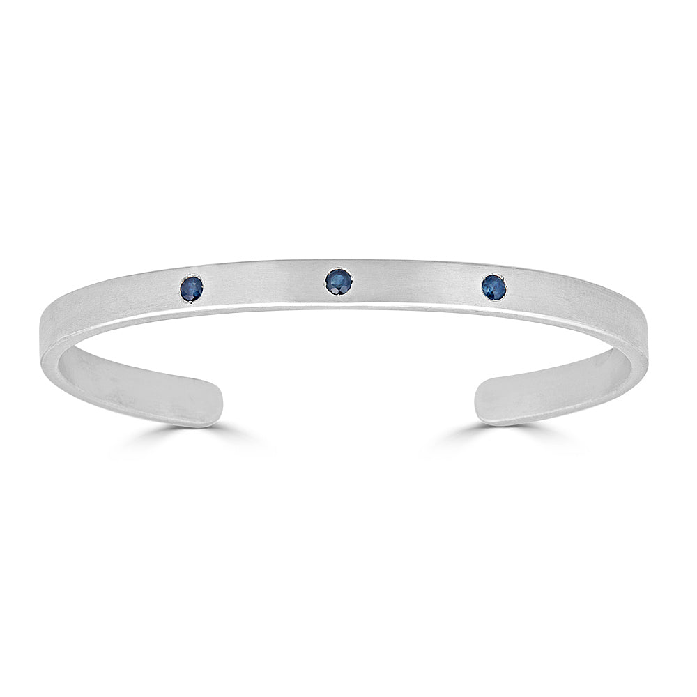 Brushed Sterling Cuff with Blue Sapphires