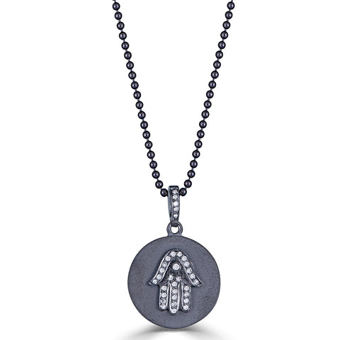 Diamond Hamsa Hand Pendant Necklace