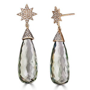 Green Amethyst Diamond Star Dangle
