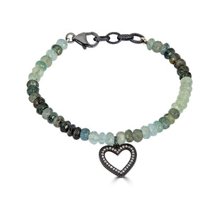 Moss Aquamarine Bracelet with Diamond Charms