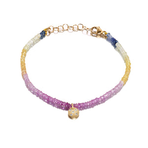 Circle of 5th's Pink Sapphire Shaded Charm Bracelet