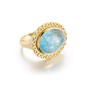 Infinity Aquamarine Gemstone Gold Ring