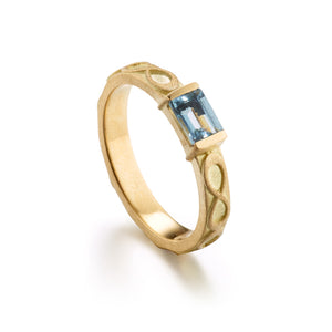 Aquamarine Infinity Rectangle Ring