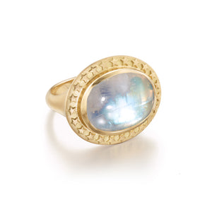 Rainbow Moonstone Celestial  Cocktail Ring