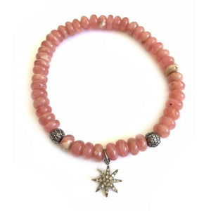 Moonstone Rondel Bracelet with Diamond Star Pendant
