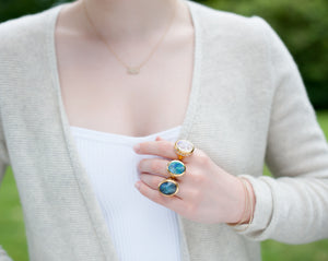 Diamond Labradorite Infinity Ring