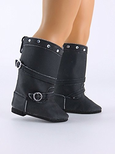 18 Inch Doll Black Rhinestone Knee High Boots with Buckle