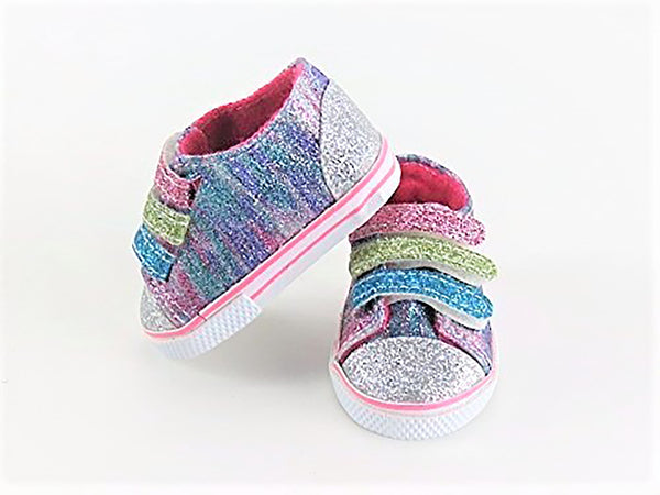 18 Inch Doll Rainbow Glitter Sneakers fits American Girl Doll