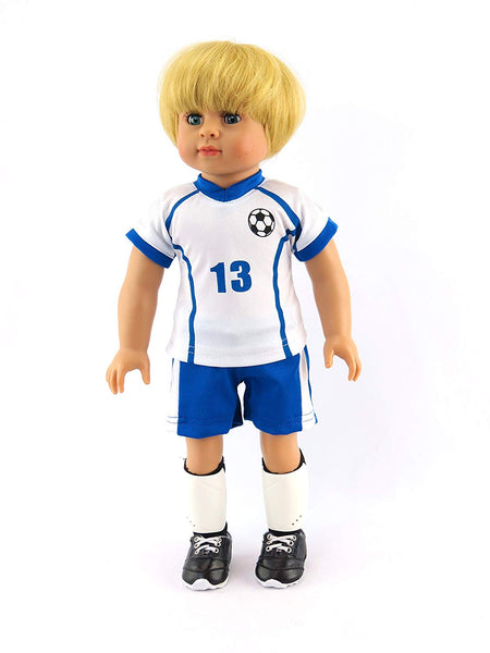18 Inch Boy Doll in 6 Piece Soccer Outfit - Blonde