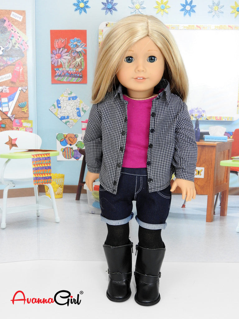 Trendy 6 Piece Back To School Outfit For American Girl -2387