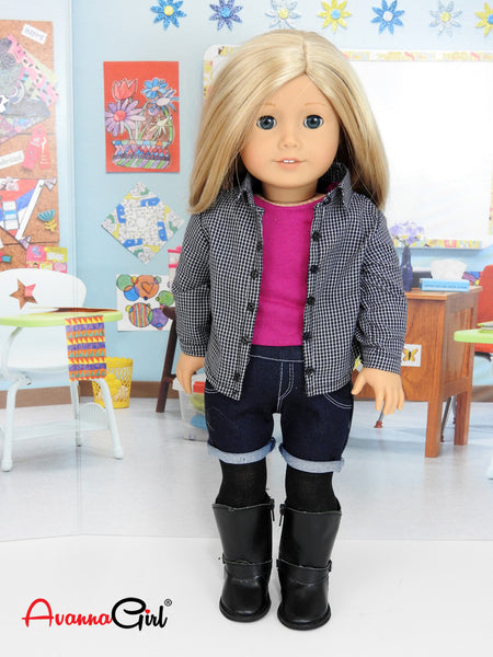 Trendy 6 Piece Back to School Outfit for American Girl Doll & 18 Inch Dolls