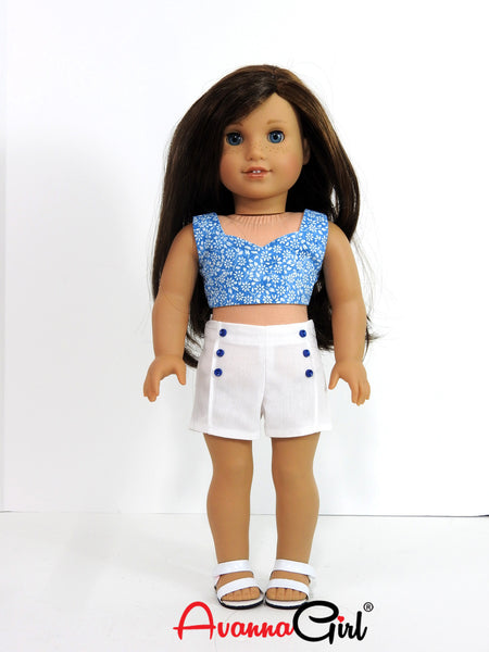 American Girl Doll Handmade Cropped Top and Shorts