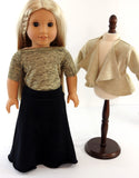 Cascading Cardigan, Maxi Skirt and Boat Neck Top for AG Doll