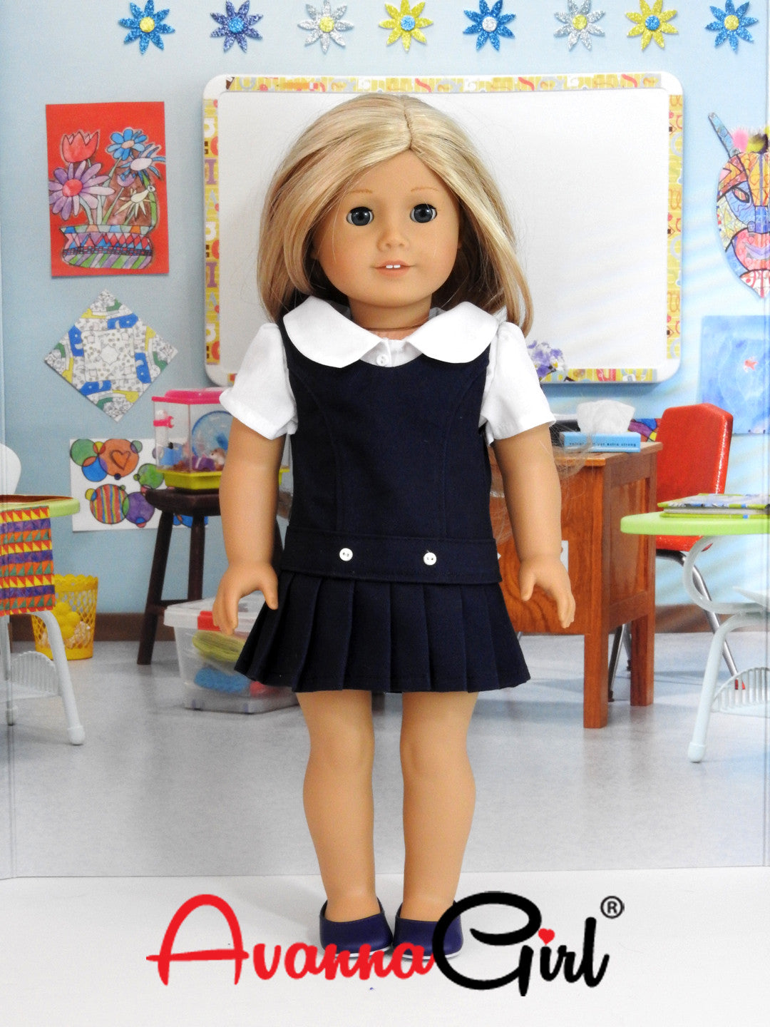 American Girl Doll Handmade Back to School Uniform - Navy Jumper, White Blouse