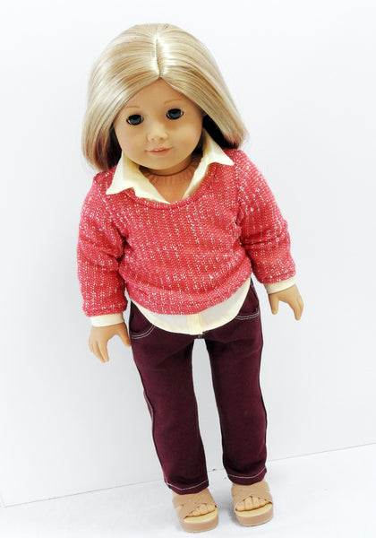 American Girl Doll Handmade Jeans and Sweater Outfit
