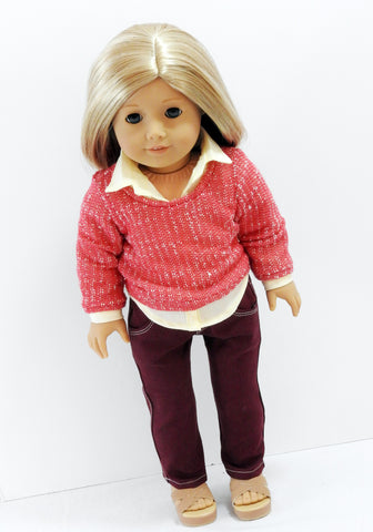 AG Doll Clothes Handmade Sweater, Button Up Shirt, Skinny Jeans