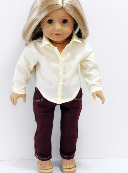 American Girl Doll Handmade Button Front Top