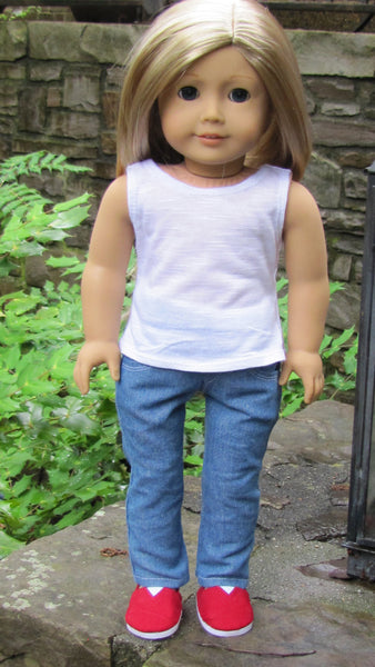 American Girl and 18 Inch Dolls Handmade Skinny Jeans and White Tank Top