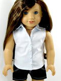 American Girl Doll Handmade Sleeveless Button Up Shirt and Denim Shorts