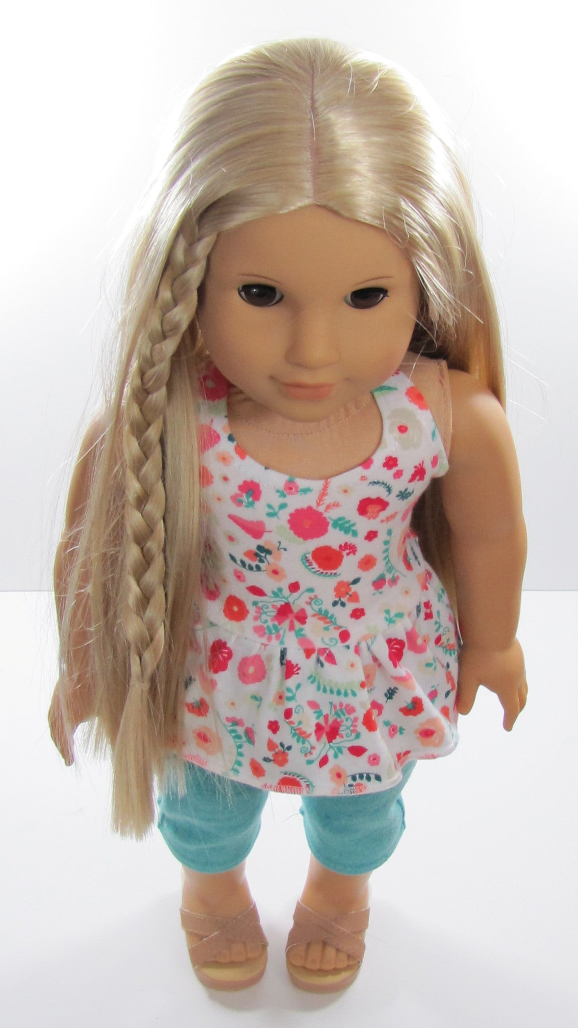 American Girl Doll Handmade Trendy Peplum Halter Top and Capris Jeans