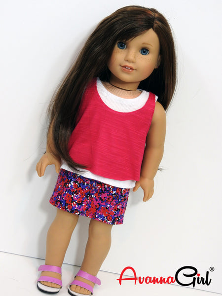 18 Inch Doll Clothes Handmade Layered Tank Tops and Floral Denim Mini Skirt