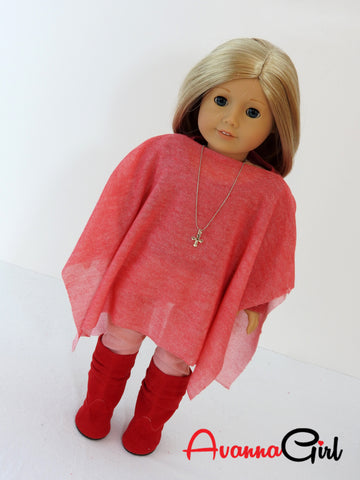 18 Inch Doll Back to School Handmade Sweater, Skinny Jeans, Poncho