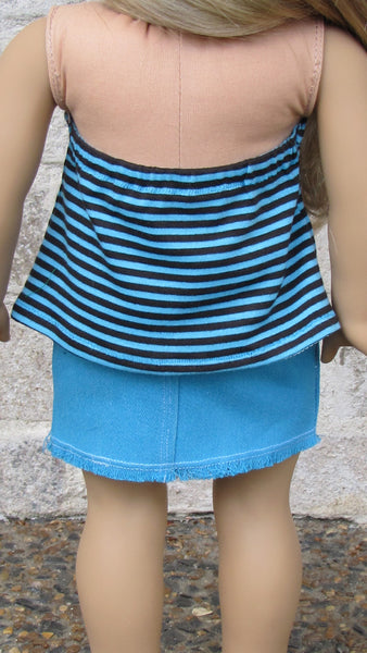 Pacific Blue Mini Skirt and Striped Halter