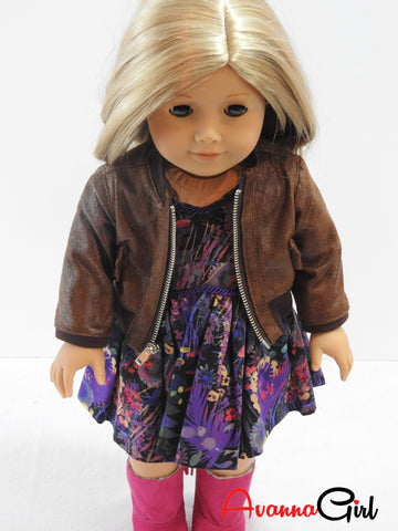 AG Doll Handmade Faux Leather Bomber Jacket
