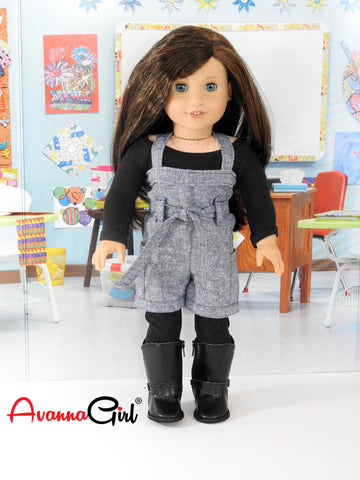 American Girl Doll Handmade Back to School Trendy Romper, Leggings, Top
