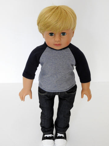 18 Inch Boy Doll Baseball Tee and Jeans