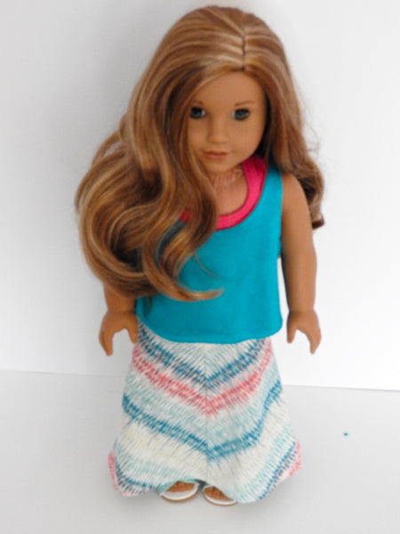 American Girl Doll Handmade Maxi Skirt, Tank Top and Sports Bra