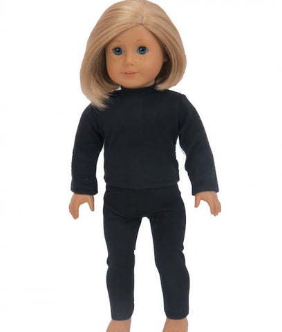 18 Inch doll Plain Black Shirt and Leggings Set