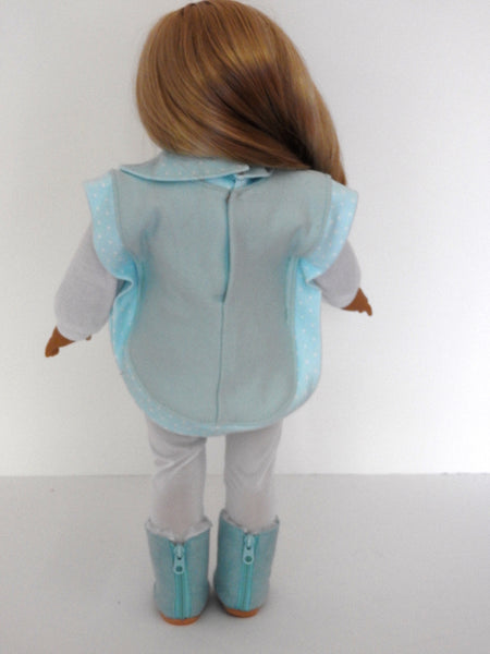 18 Inch Doll Clothes, AG Doll Clothes Poncho, Leggings, Long Sleeve T-Shirt and Boots