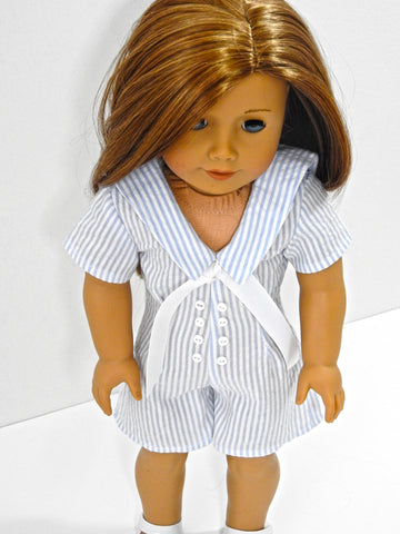 Handmade American Girl Doll Seersucker Sailor Romper