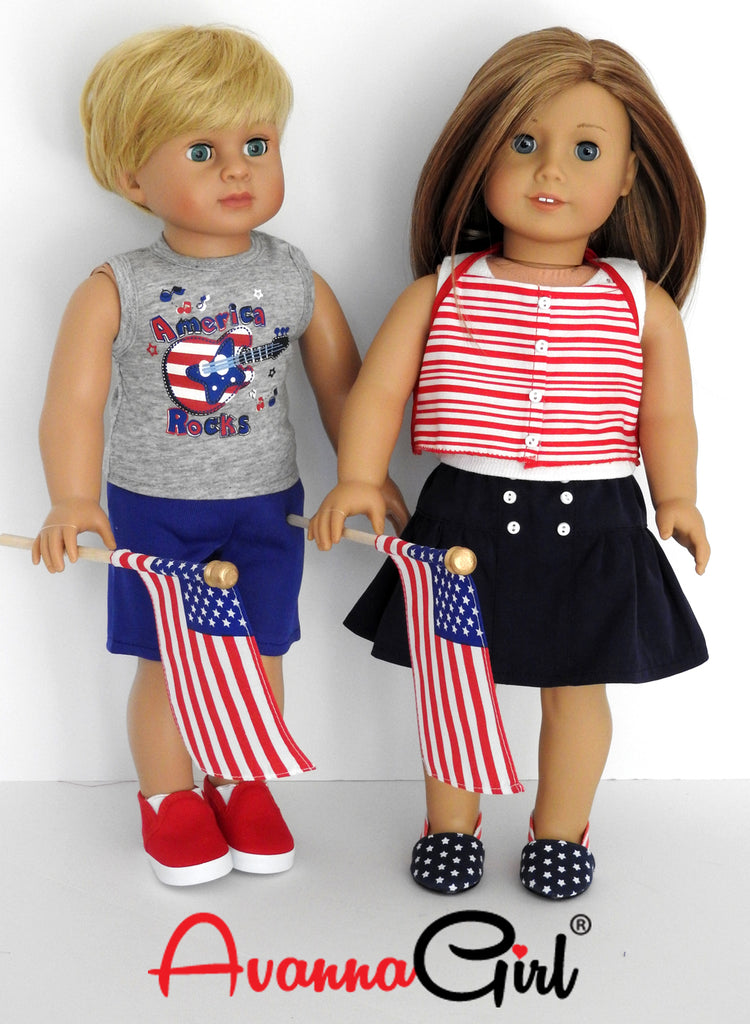 Patriotic Red White Blue Swim Suit for Boy American Girl 18 inch Doll Clothes