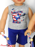 Patriotic USA Outfit for 18 Inch Boy Doll