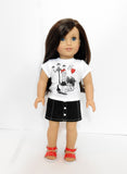 AG Doll Clothes Graphic Tee and Handmade Button Front Denim Mini Skirt