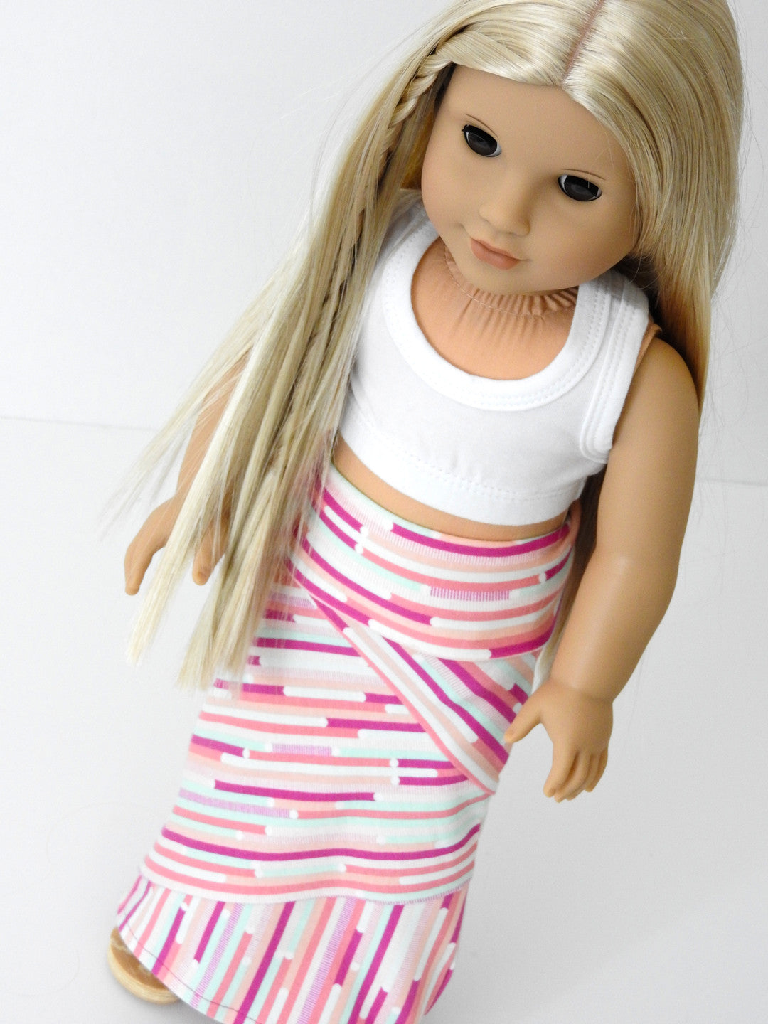 18 Inch Doll Trendy Crazy Mixed Up Stripes Maxi Skirt and Cropped Tank Top Handmade for American Girl Doll