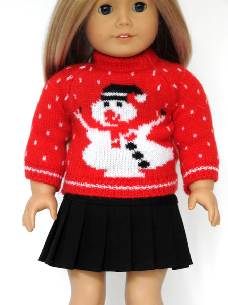18 Inch Doll Christmas Sweater, Skirt, and Boots