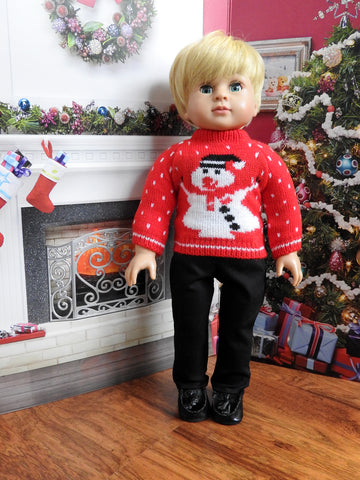 18 Inch Boy Doll Christmas Snowman Sweater and Pants